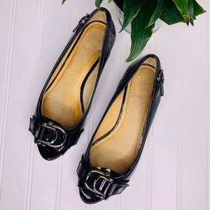 Frye Peep Toe Low Heel Wedge Black Patent Leather